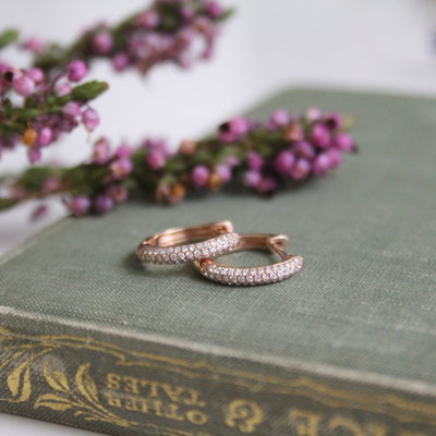 Rose Gold Pave Diamond Hoop Earrings