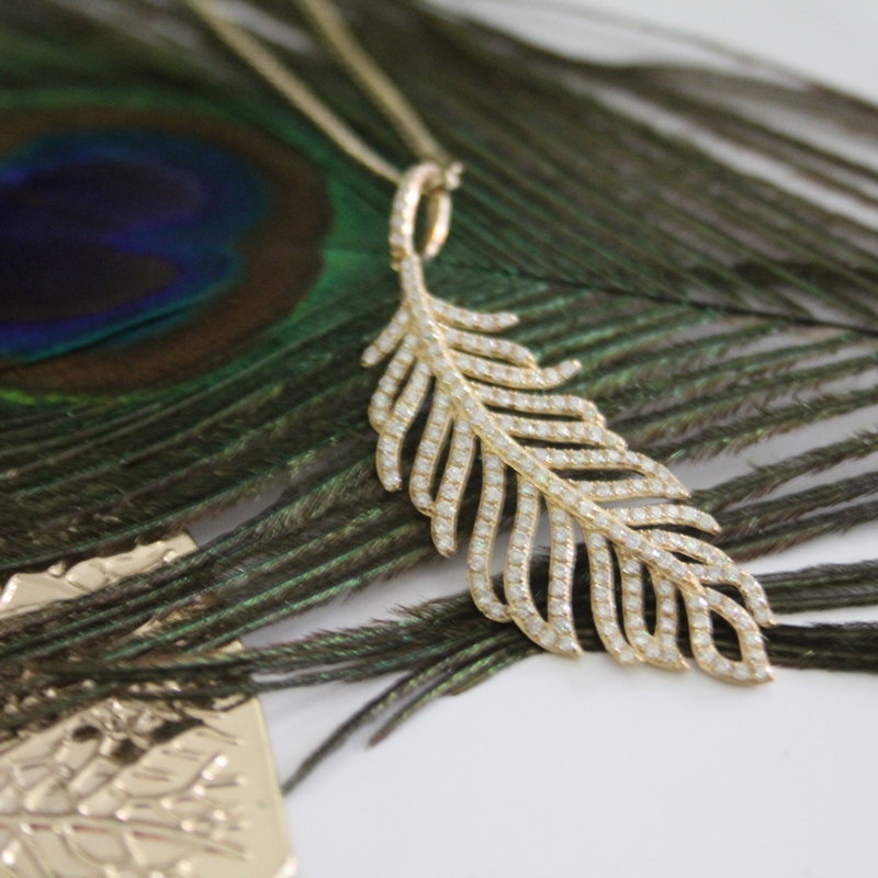 GATSBY Gold Diamond Feather Necklace