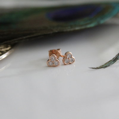 Joulberry Rose Gold Ivy Diamond Earrings