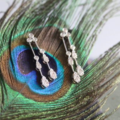 White Gold Dewdrop Diamond Earrings