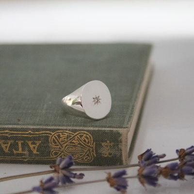 Silver Diamond Star Signet Ring