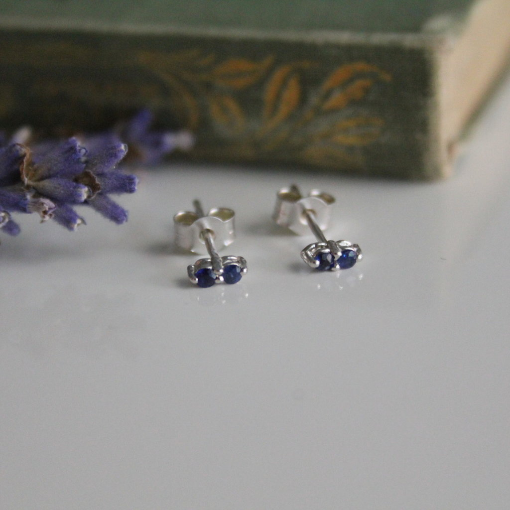 White Gold Sapphire Duo Earrings