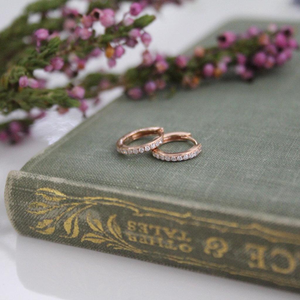 Rose Gold Round Diamond Hoop Earrings