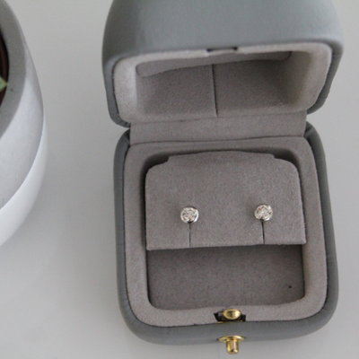 Joulberry 18 Carat White Gold Diamond Solitaire Bezel Studs