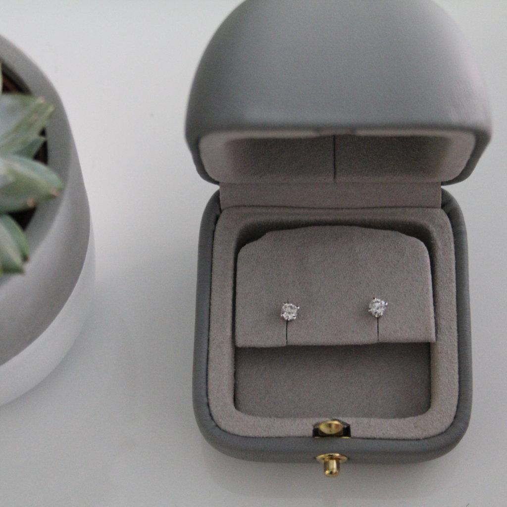 18 Carat White Gold Diamond Solitaire Studs