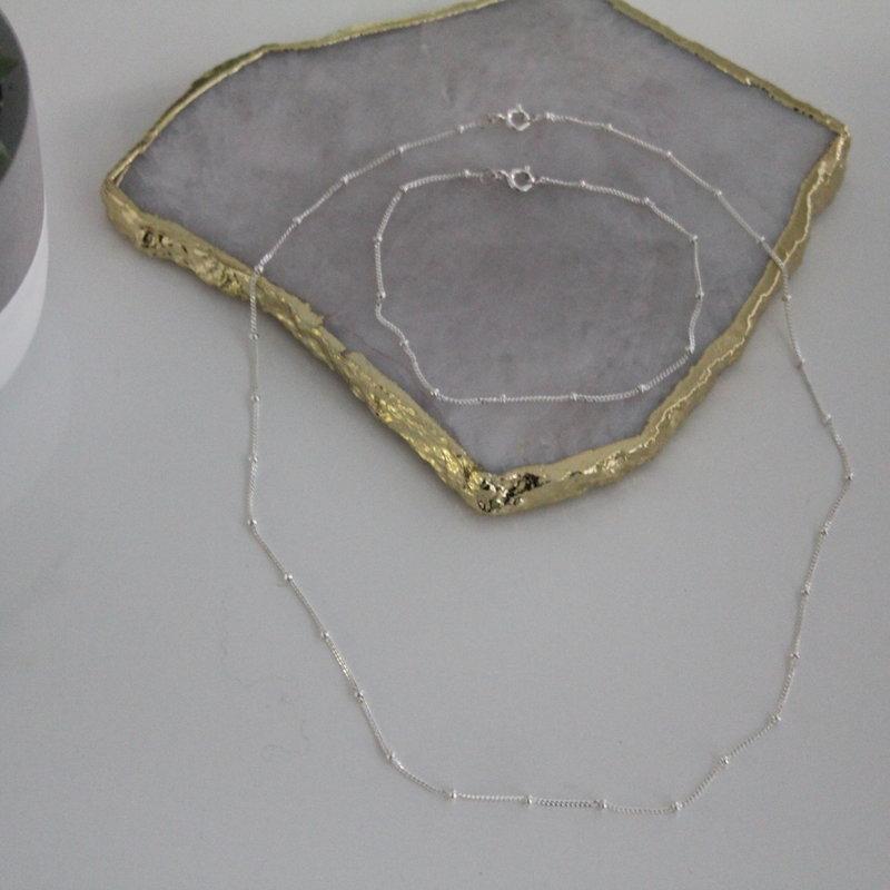 BOHO Silver Jasmine Curb Necklace