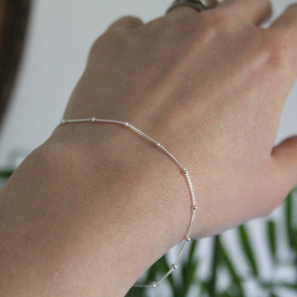 BOHO Silver Jasmine Curb Bracelet