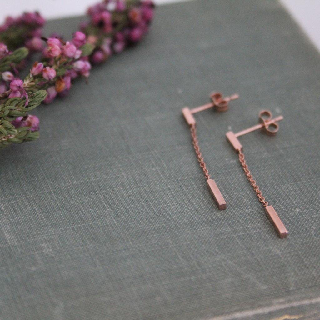 Rose Gold Bar Dangly Earrings