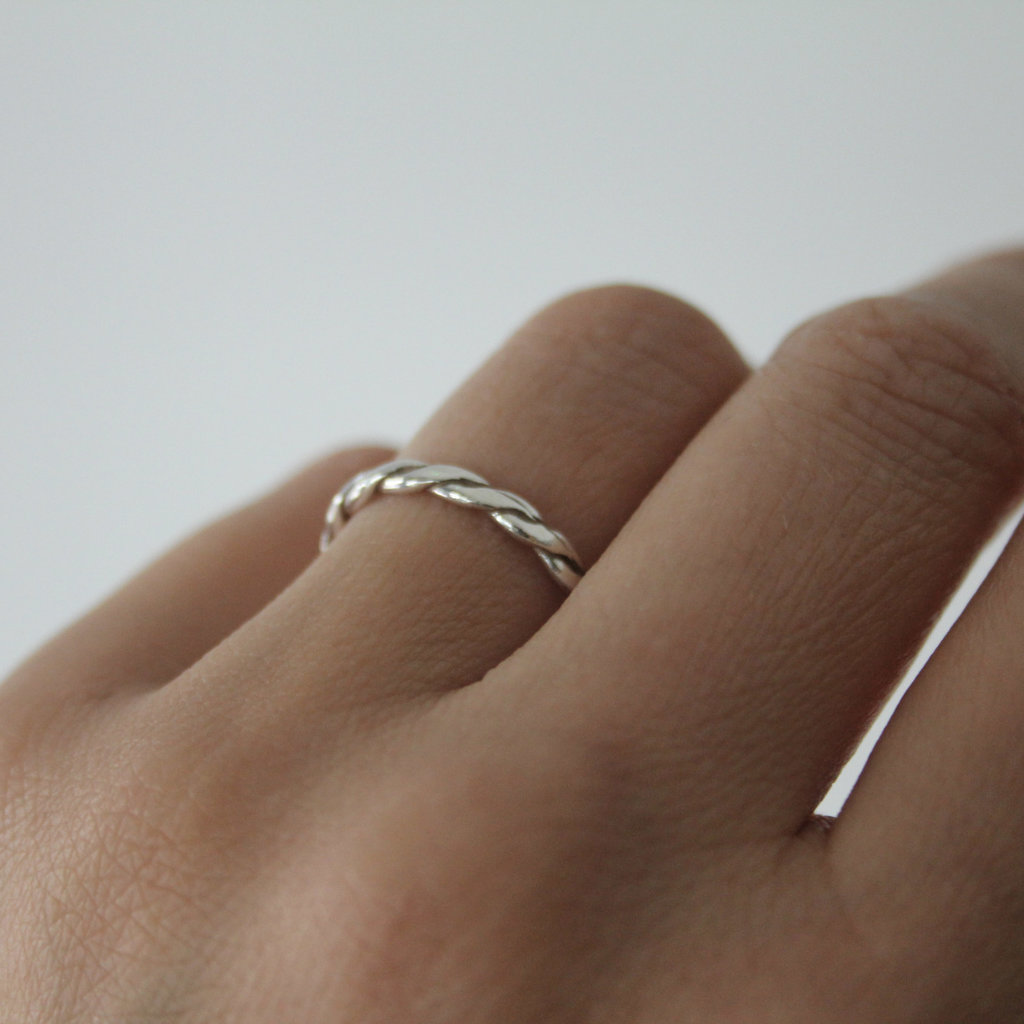 DAISY Silver Plaited Stacking Ring