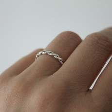 Joulberry Silver Plaited Stacking Ring