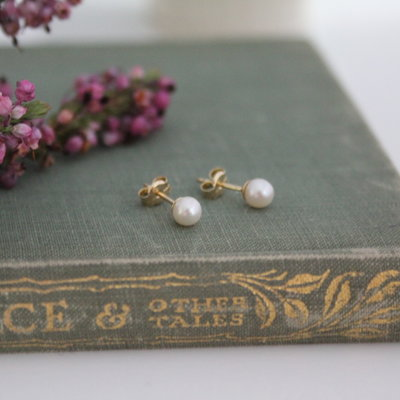 Joulberry Gold Petite White Freshwater Pearl Earrings