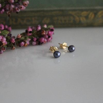 Gold Petite Black Freshwater Pearl Earrings