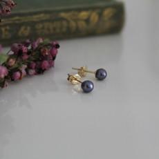 GATSBY Gold Petite Black Freshwater Pearl Earrings
