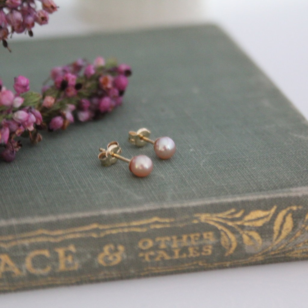 Gold Petite Blush Freshwater Pearl Earrings