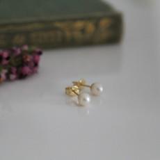 Gold Petite White Freshwater Pearl Earrings