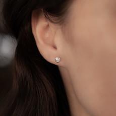 Joulberry 18 Carat White Gold Bezel Diamond Studs