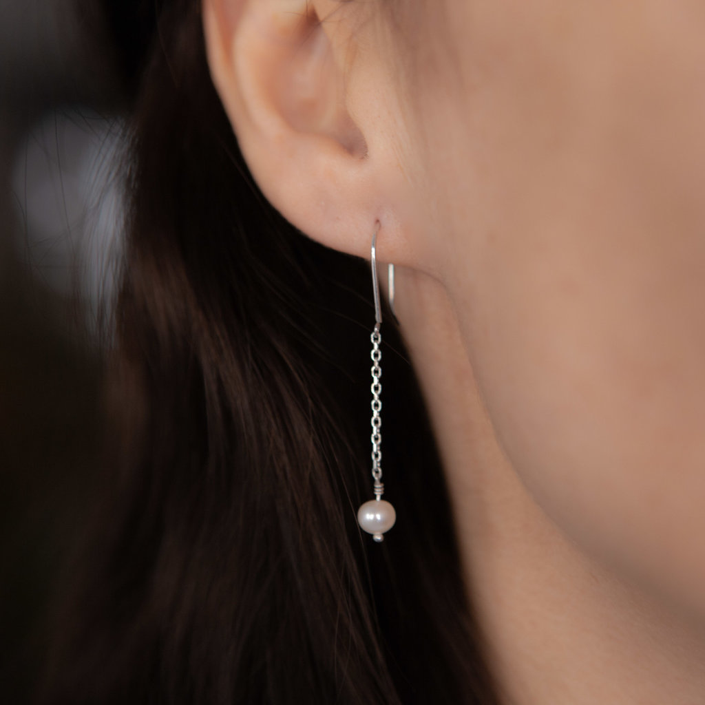 Silver White Pearl Dangly Chain Earrings