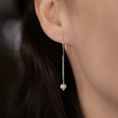 Joulberry Silver White Pearl Dangly Chain Earrings