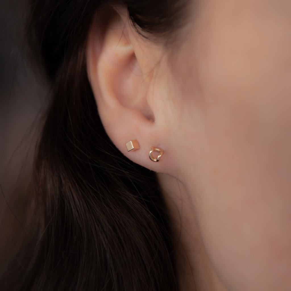 Joulberry Golden Cube Earrings
