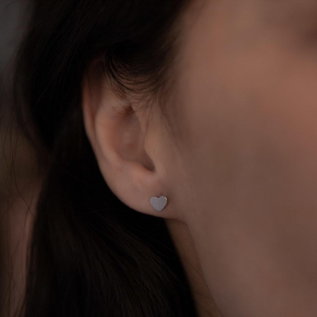 White Gold Slender Heart Earrings