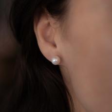 White Ocean Pearl Stud Earrings