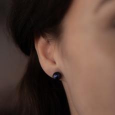 Black Ocean Pearl Stud Earrings
