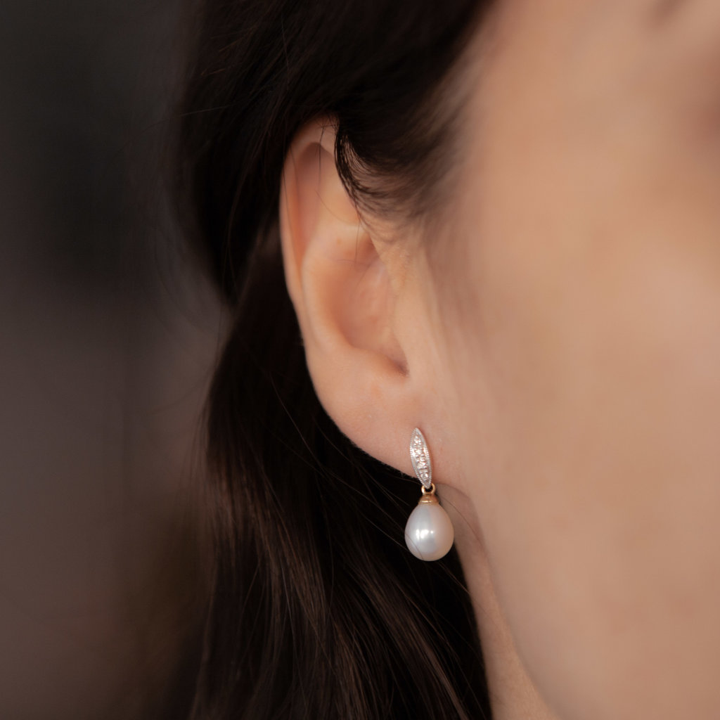 Gold Diamond Leaf Pearl Earrings