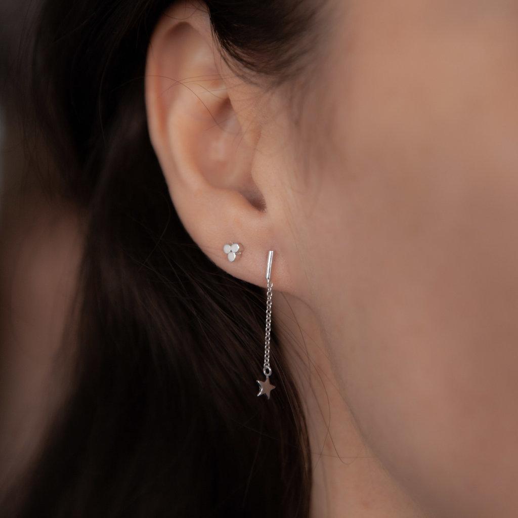 Silver Star Bar Dangly Earrings