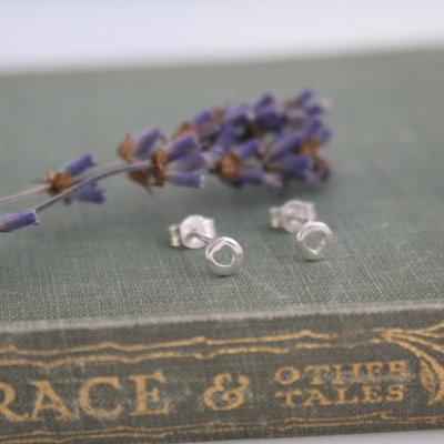 Silver Button Silhouette Heart Earrings