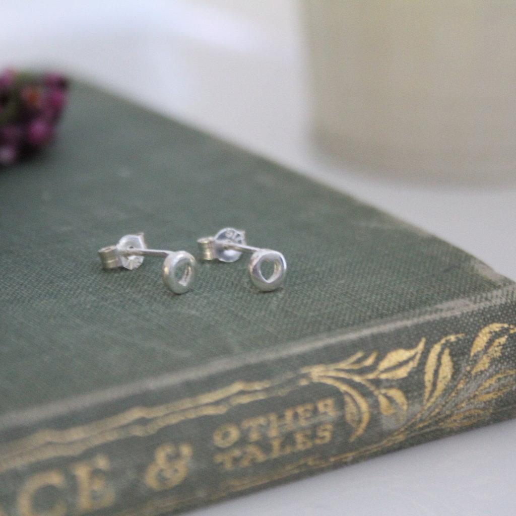 DARCY Silver Button Silhouette Heart Earrings
