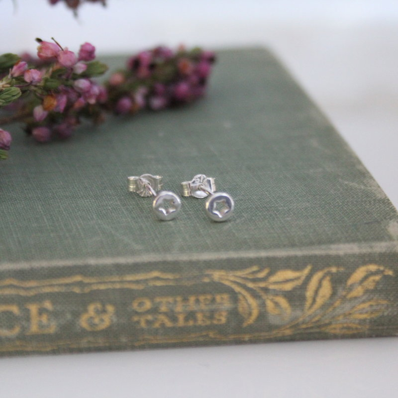 MADISON Silver Button Silhouette  Star Earrings