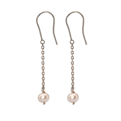 MADISON Rose Gold Twist Pink Pearl Dangly Earrings
