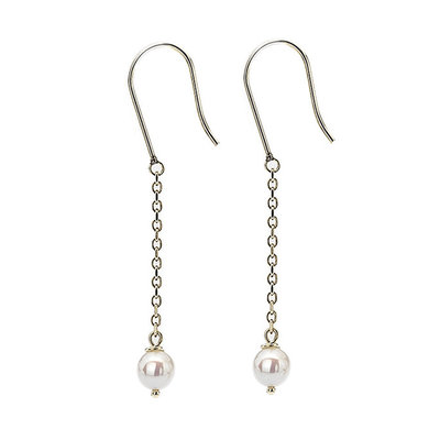 Gold White Pearl Dangly Chain Earrings