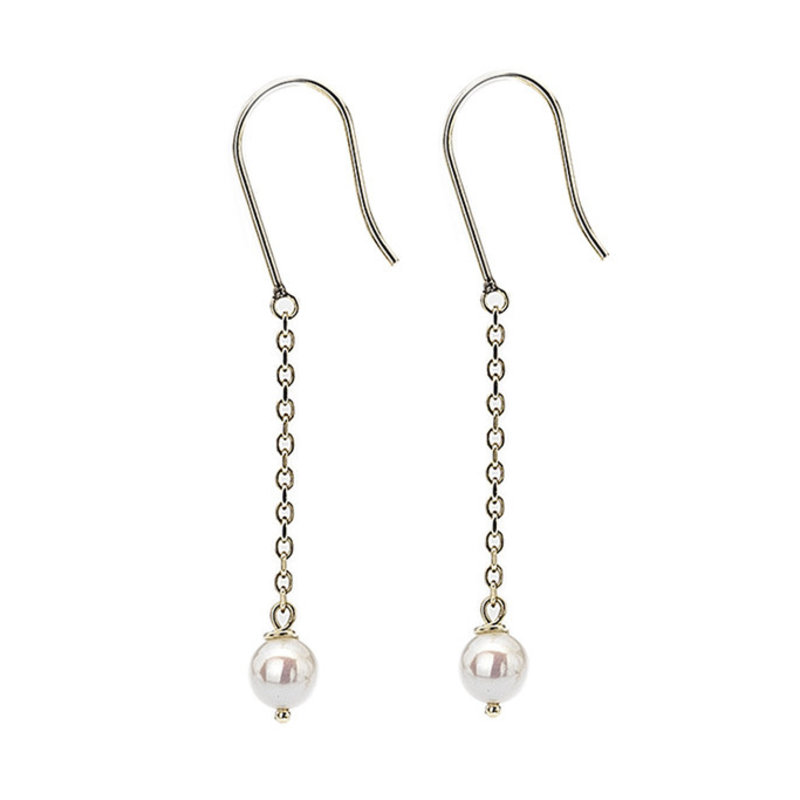 MADISON Gold White Pearl Dangly Chain Earrings