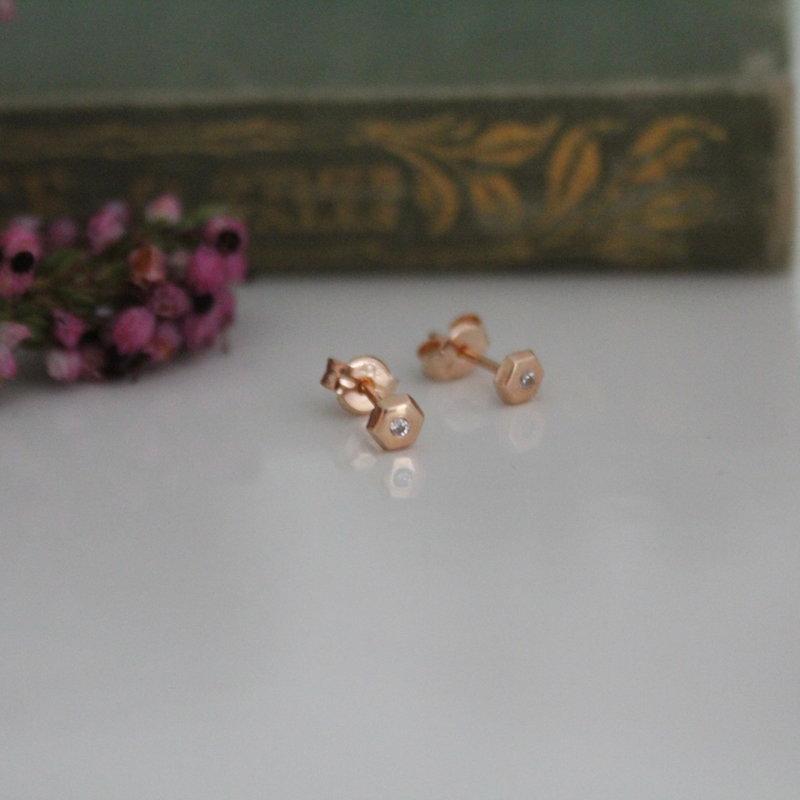 NOVA Rose Gold Art Deco Hex Earrings