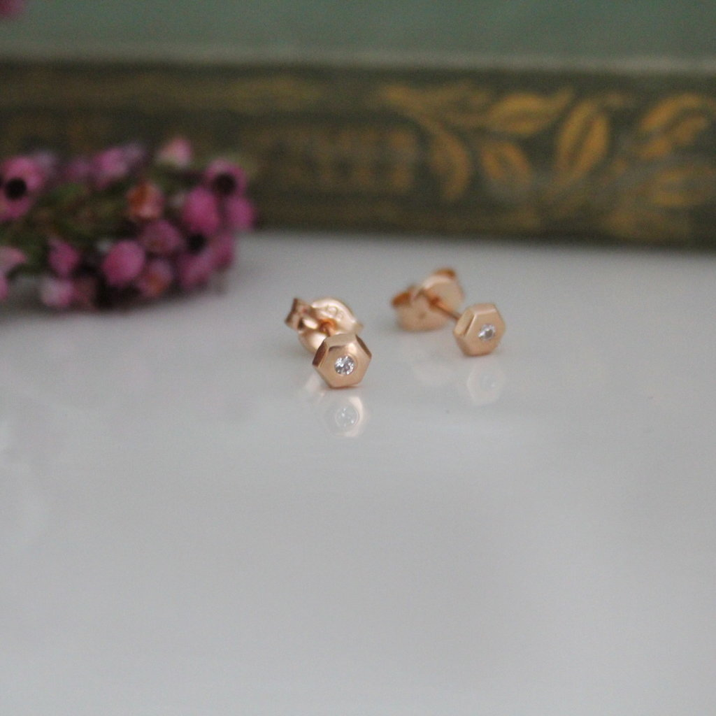 Rose Gold Art Deco Hex Earrings