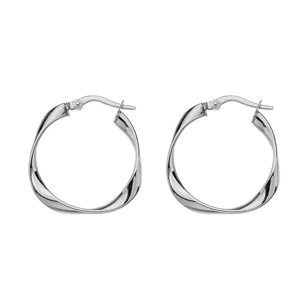 White Gold Flo Medium Hoop Earrings