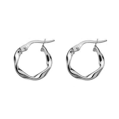White Gold Petite Twist Hoop Earrings