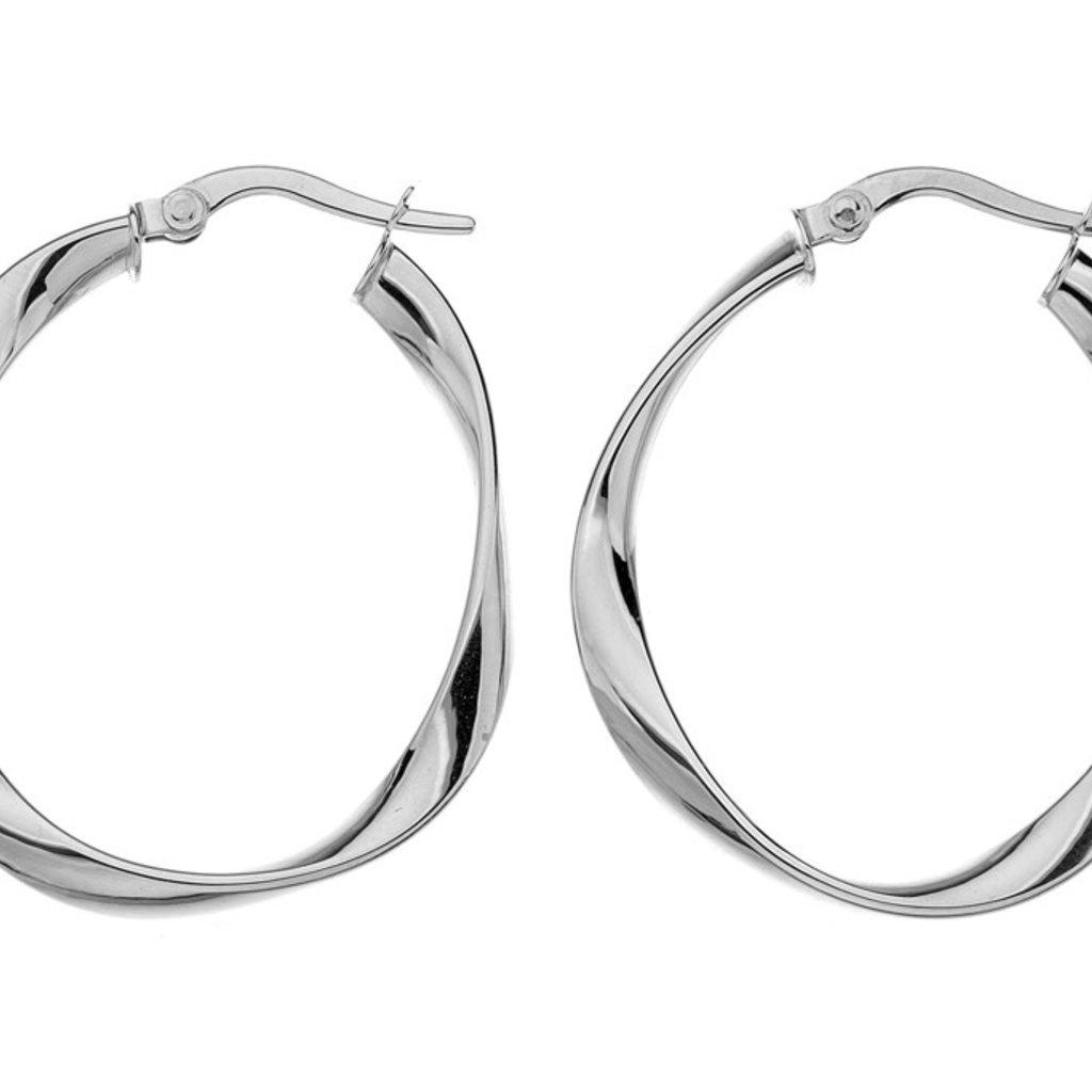 White Gold Flo Large Hoop Earrings
