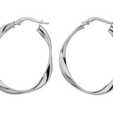 BOHO-White Gold Flo Large Hoop Earrings