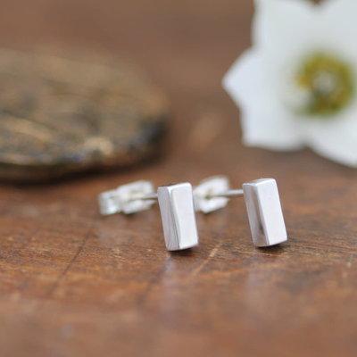 White Gold Bolt Earrings