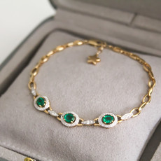 Joulberry Vogue Emerald and Diamond Bracelet