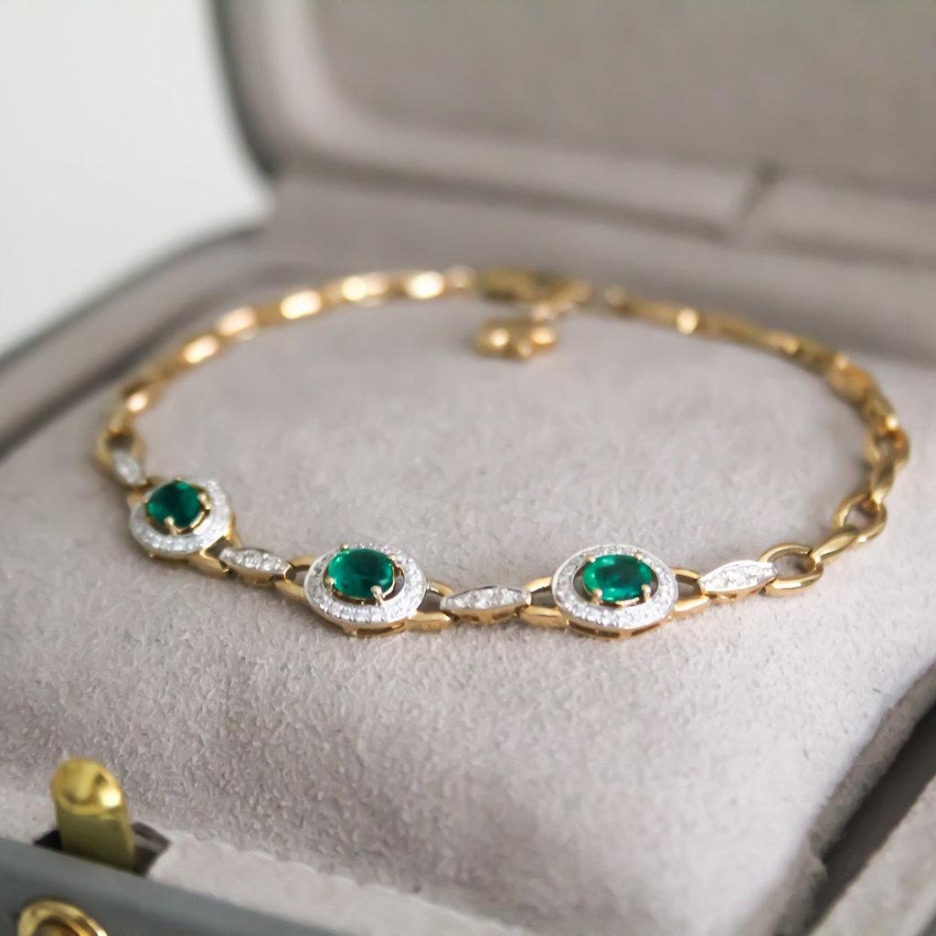 BARDOT Gold Emerald and Diamond Bracelet