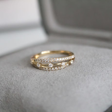 Joulberry Vogue Gold Diamond Kisses Ring