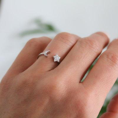 LUNAR Moon and Stars Diamond Ring