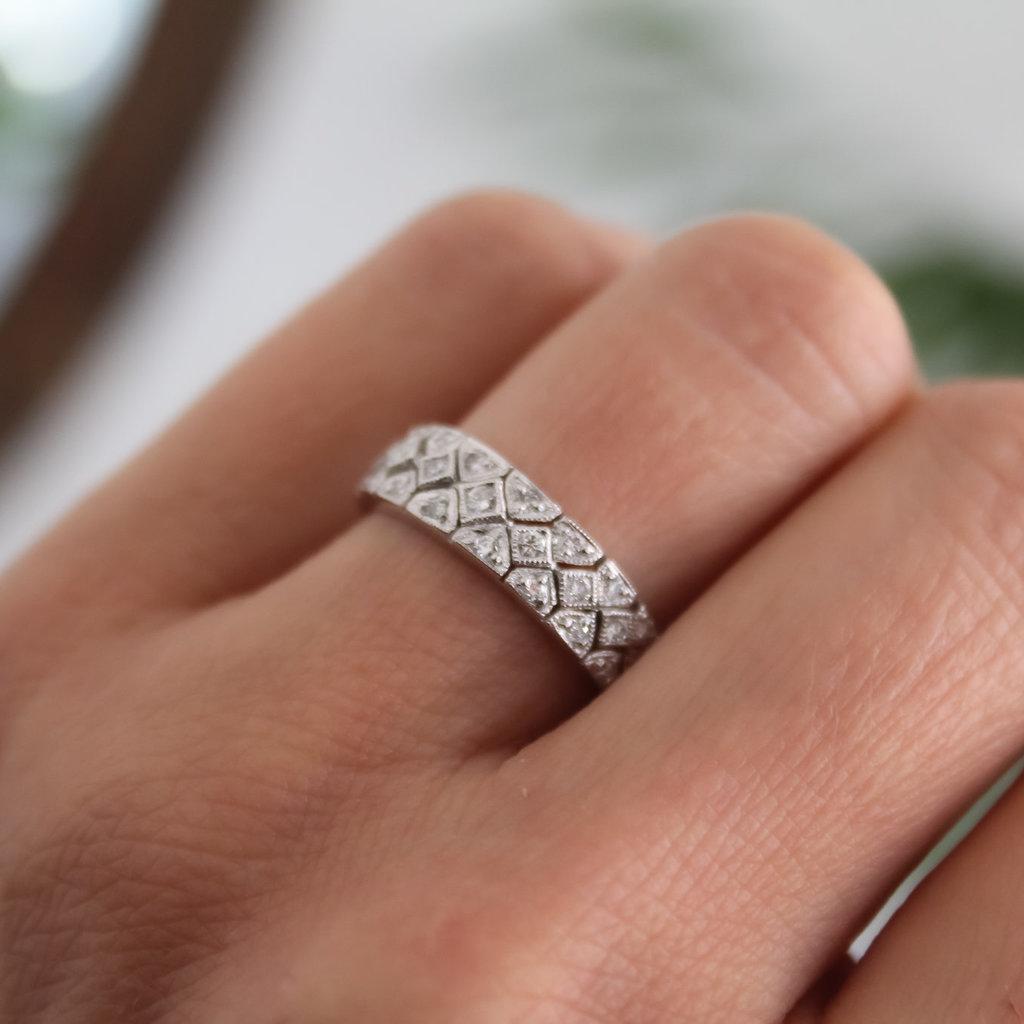 Vogue Platinum Deco Diamond Ring