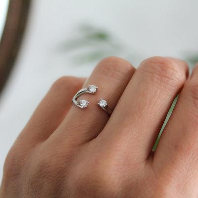 Joulberry White Gold Diamond Wishbone Ring