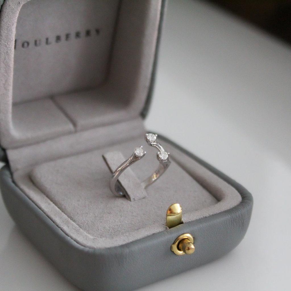 White Gold Diamond Wishbone Ring