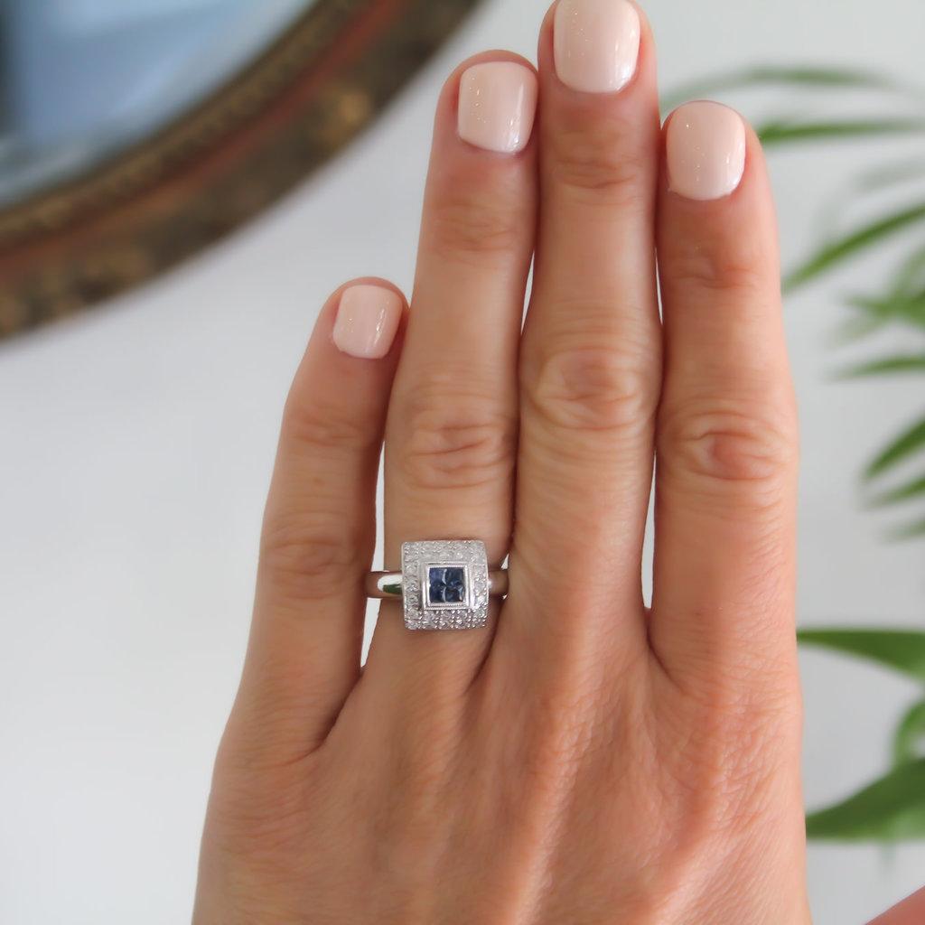 GATSBY White Gold Sapphire and Diamond Ada Ring