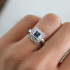Joulberry Vogue Sapphire and Diamond Art Deco Ring